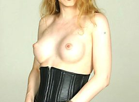 Black Leather On Titillating Solo Tranny