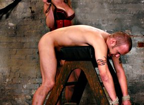 Blond Tgirl In Corset Dominates Dude