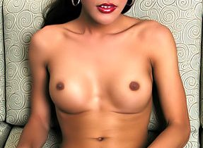 Brunette Shemale With Round Fake Boobs