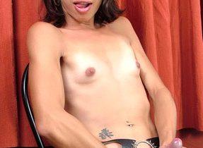 Curvaceous Brunette Tgirl Flaunts Ass-Hole