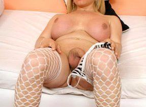 Curvy Blonde Shemale Solo Striptease