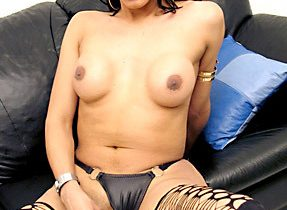 Goth TGirl In Seductive Stockings