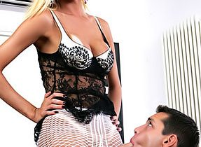 Inviting Fishnets On Blonde Transsexual