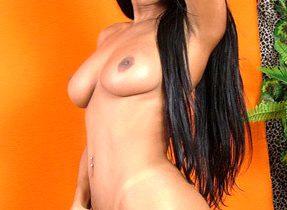 Naught Latina TGirl Pleasures Herself