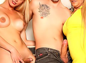 Naughty Dude With Two Filthy Shemales