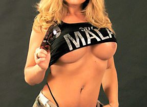 Provoking Blonde T-Girl With Enormous Titties