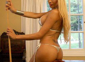 Skinny Blonde On The Pool Table