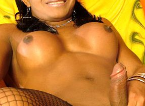 Smiley Ebony Transexual Gets Filthy