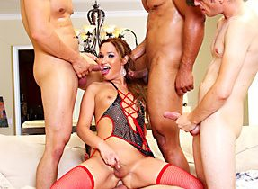 TGirl Gangbang With Whore In Panties